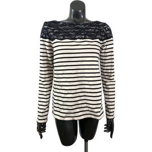 Joe Fresh Cotton Striped Boatneck Lace Trim Top
